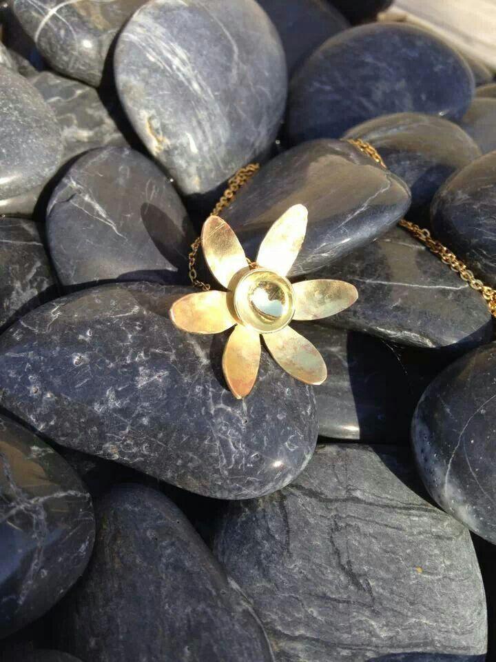 Brass flower pendant