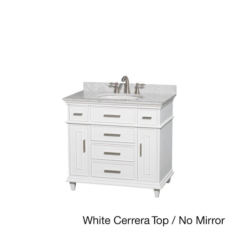 Photo Gallery On Website Wyndham Collection Berkeley inch Single Bathroom Vanity in White with White Carrera Marble Top with White Undermount Oval Sink and No Mirror