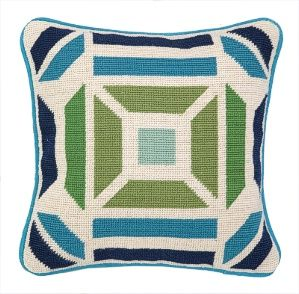 Peking Handicraft Pillow - Novato Needlepoint Pillow Blue/Green - $69.99 Per Pillow #interior #decor #home #design #blue #manly #masculine #fathersday #inspiration #ideas #style #trend #2014 #wool #cotton #accent #decorative #throw #style #trend #geometric #white