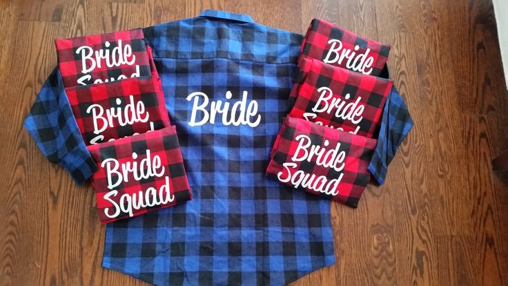 Bride and Bride Squad Bridal Party Flannels Bridesmaid Flannels Wedding Prep Wedding Getting Ready Bachelorette Party Shirts by TeamBrideDesigns on Etsy