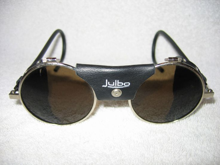 Julbo Sunglasses  (Vintage Glacier Mountaineering Steampunk Leather Blinders, Men's Pre-owned Designer Sun Glasses)