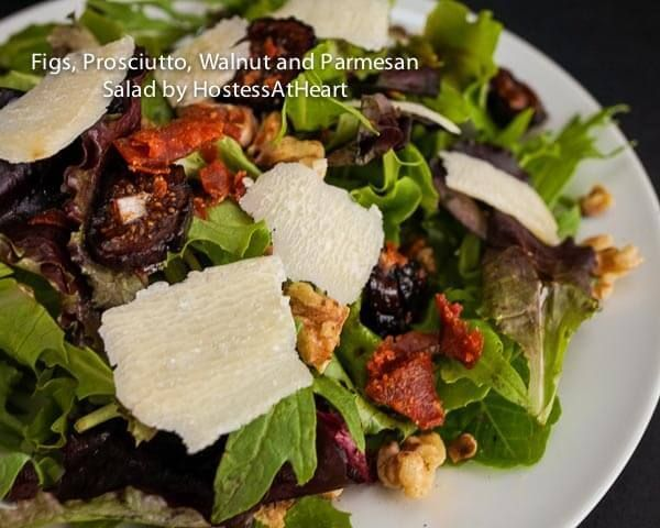Mixed Green Salad with Fig, Prosciutto, Walnut and Parmesan is neither boring or high in calories. It looks complicated but it's not | HostessAtHeart.com