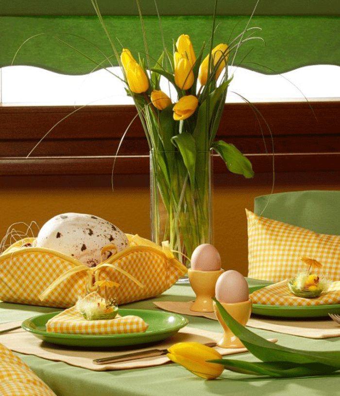 10 egyedi húsvéti asztali dekoráció zöld színben sárga kiegészítőkkel