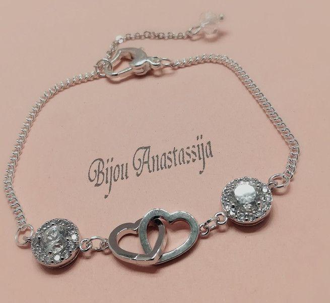 Brautschmuck - Armband Kette Silberkette mit Herz Zirkonia  - ein Designerstück von BijouAnastassija bei DaWanda