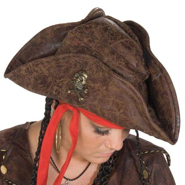 Piraat hoed bruin