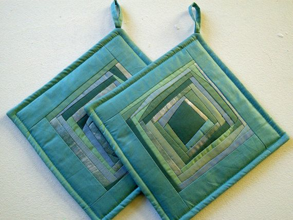 Turquoise  Pot Holders Quilted Potholders by DzintrasPatchworkArt
