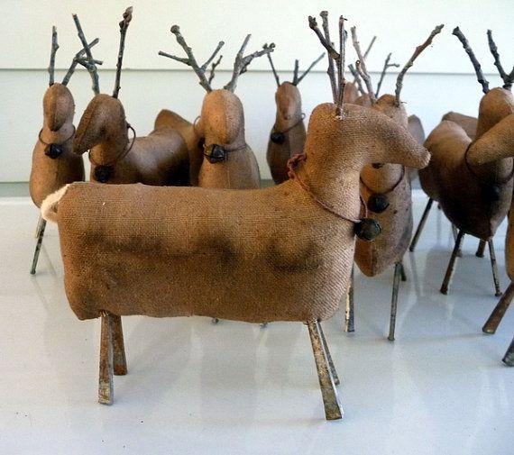 Primitive deer reindeer prim Christmas tuck bowl by ahlcoopedup