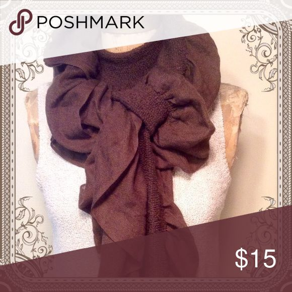 Knit Ruffle Scarf Beautiful full ruffle scarf in a deep chocolate brown. Very thick full and warm. This is more of an accent scarf. Apt. 9 Accessories Scarves & Wraps