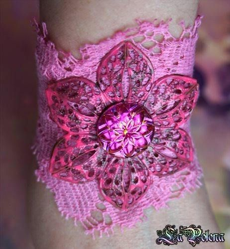 LOTUS hand dyed vintage LACE BRACELET Pink or Turquoise
