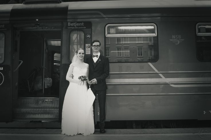Old style wedding portrait - Train station