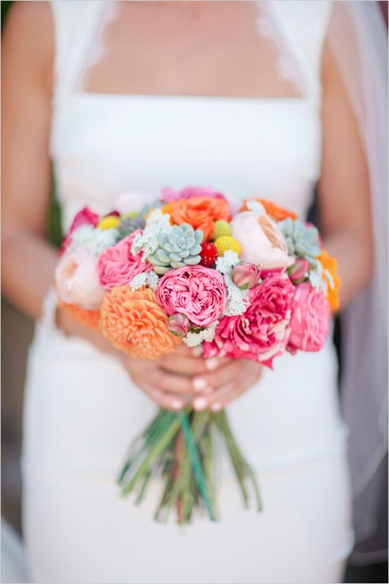 spring time wedding bouquet, with succulents