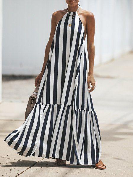 Buy Summer Dresses For Women at JustFashionNow. Online Shopping Stripe Women Hal... 15