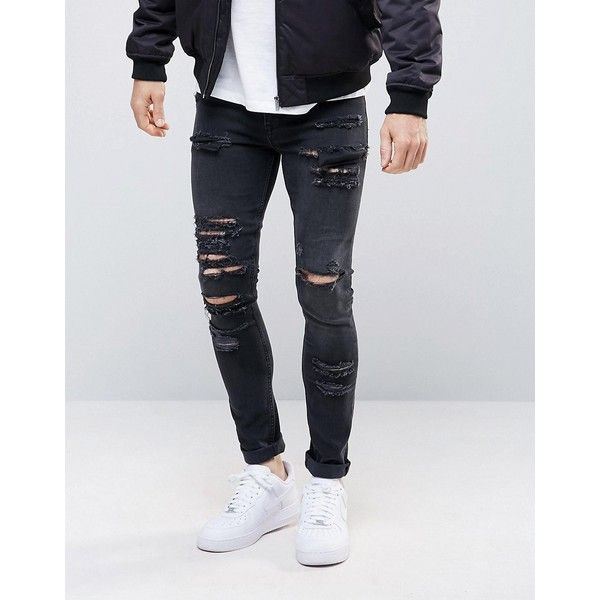 ASOS Super Skinny Jeans in 12.5oz With Mega Rips In Washed Black ($57) ❤ liked on Polyvore featuring men's fashion, men's clothing, men's jeans, black, mens skinny fit jeans, mens torn jeans, mens skinny jeans, tall mens jeans and mens ripped skinny jeans