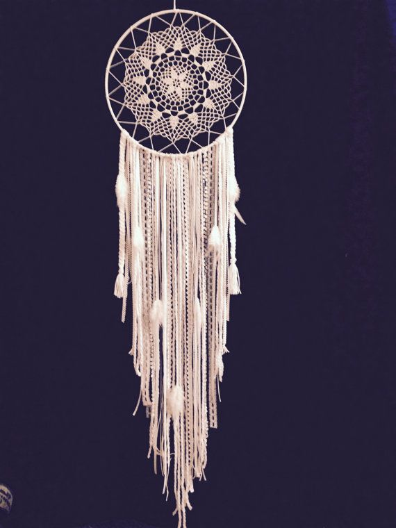 Huge White Dream Catcher/ Crochet Doily by MonaKhalilCreations