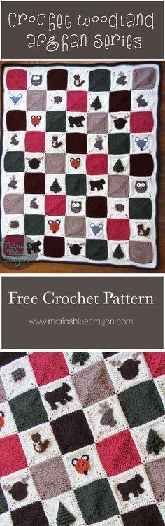Woodland Afghan Series   Crochet Woodland Themed Blanket   Maria's Blue Crayon   Free Crochet Pattern