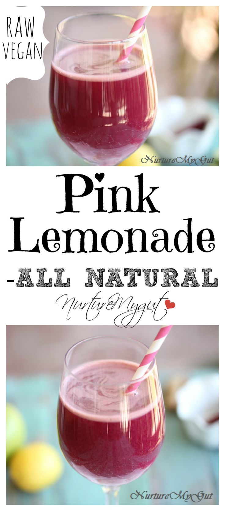 All Natural Pink Lemonade.  Made with fresh fruits and vegetables.  Absolutely delicious!  Raw Vegan/Paleo/Gluten Free.
