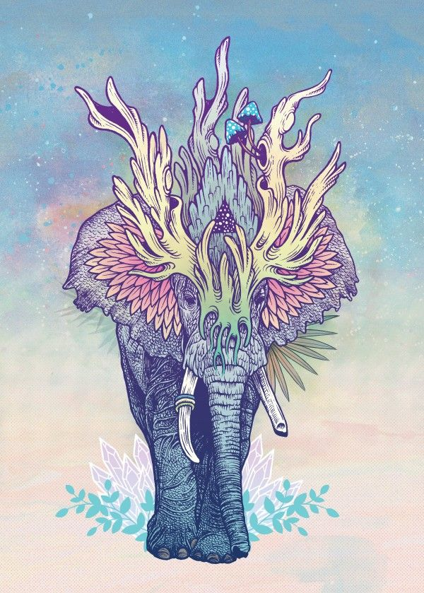 """""""Spirit Animal - Elephant"""" metal poster by Mat Miller #animal"""