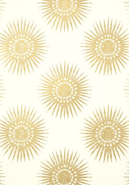 Bahia Wallpaper In Metallic Gold On Cream The Large