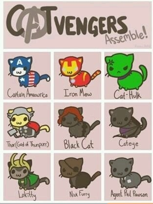 The Cat Avengers! This is too cute :)