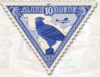 Iceland 1930 Air Mail Stamp - one of the first triangle stamps ever issued. This one is particulary interesting because it is inverted unlike most you see.