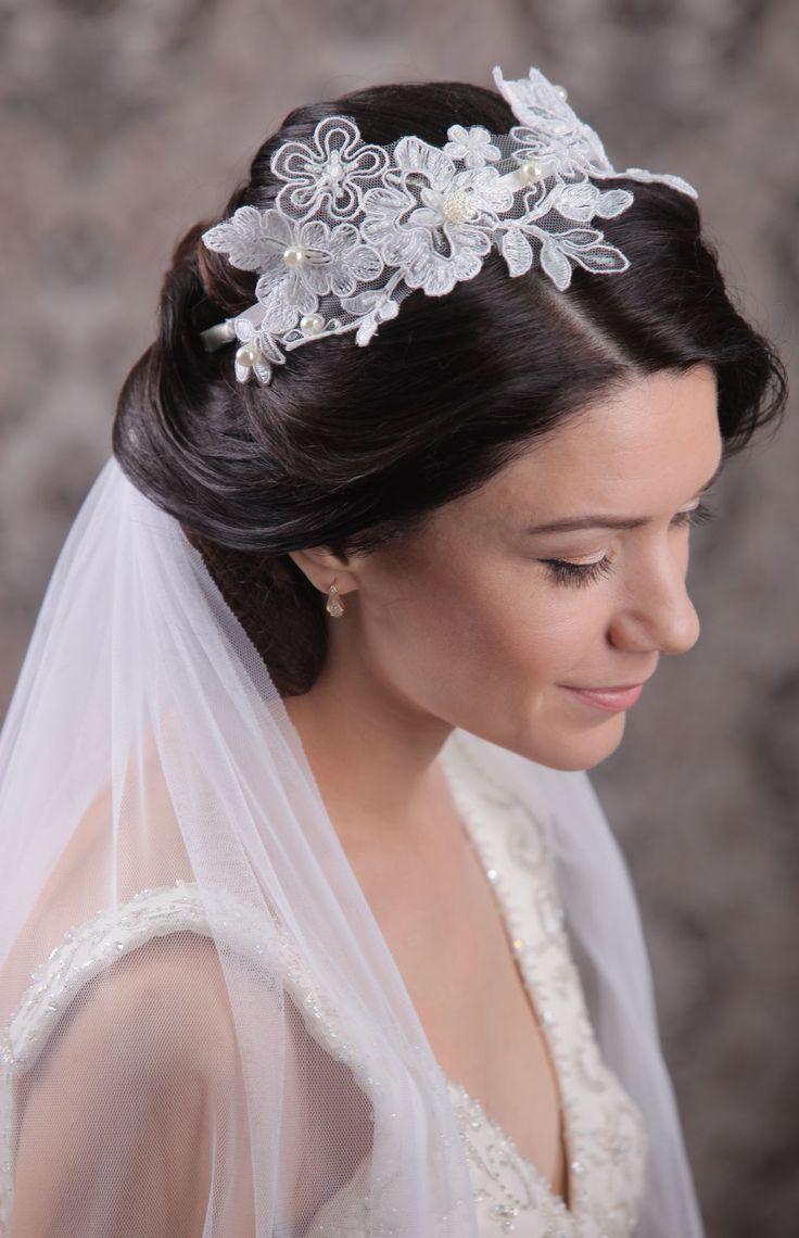 Lace Headband and Bridal Veil | Кружевной обруч и фата — Купить, заказать, фата, обруч, кружево, свадьба, свадебный, фатин