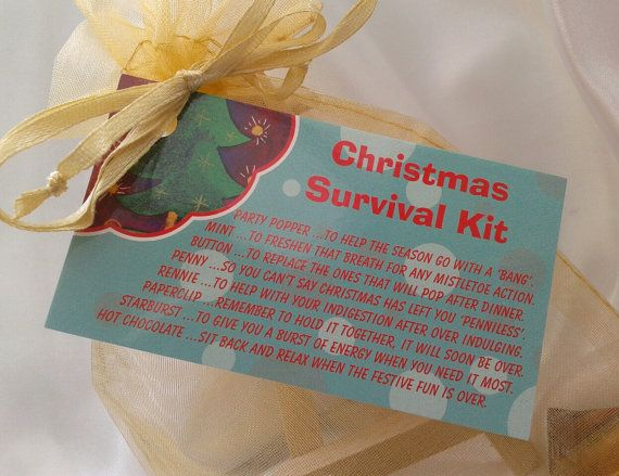Little BAG of BITS Christmas Survival Kit male by CheerUpCrafts