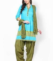 Buy Green Solid Patiala Salwar With Dupatta - PAT12 punjabi-suit online
