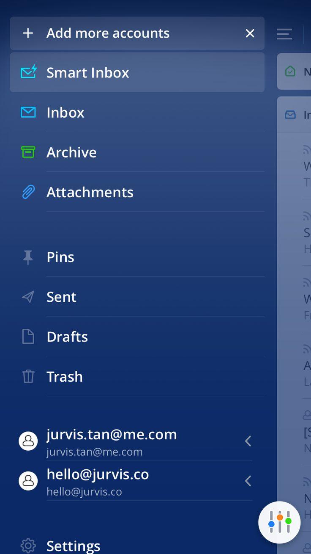 Spark Mail sidebar design