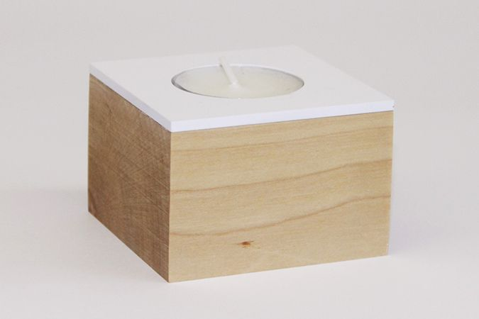 Domino. candle holder. White matte metal and waxed solid birch.  www.dsgnsquare.com/domino www.facebook.com/designdomino