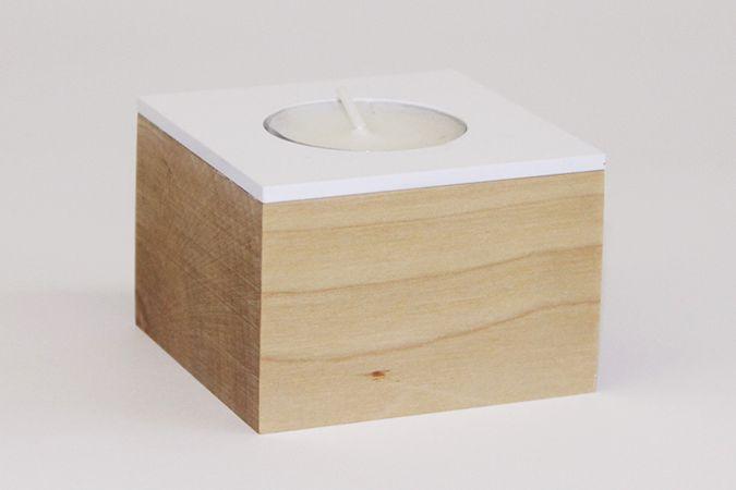 Domino. candle holder. White matte metal and waxed solid birch.  www.dsgnsquare.com/domino www.facebook.com/designdomino