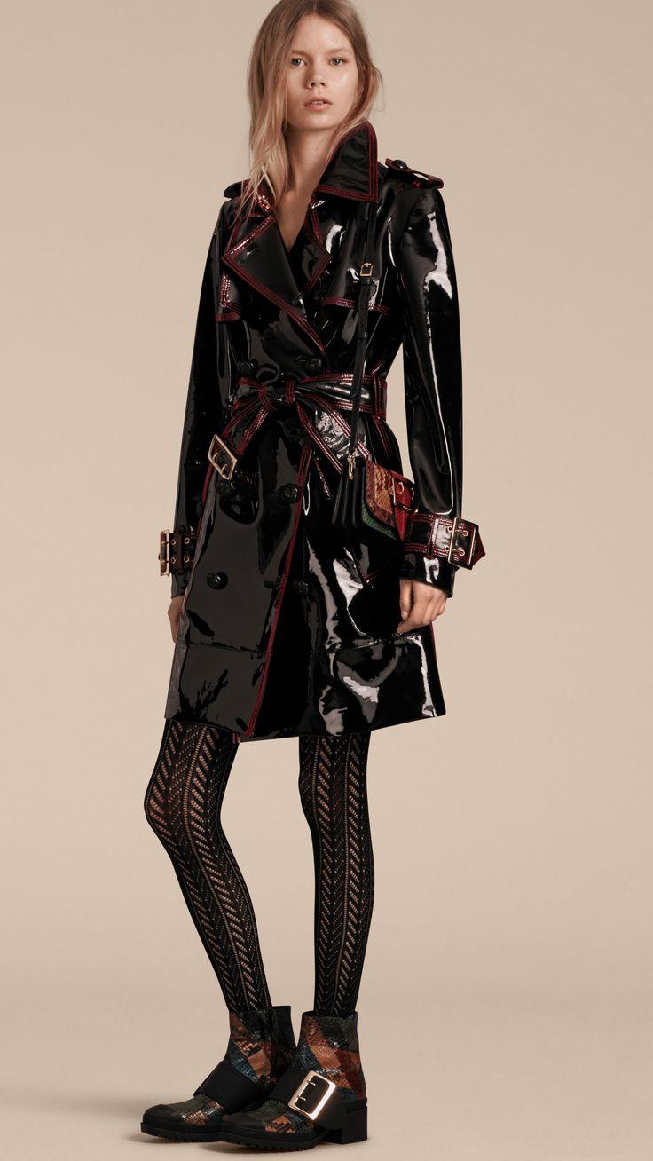 trench coat en cuir verni non doubl noir burberry shiny pvc raincoats pinte. Black Bedroom Furniture Sets. Home Design Ideas