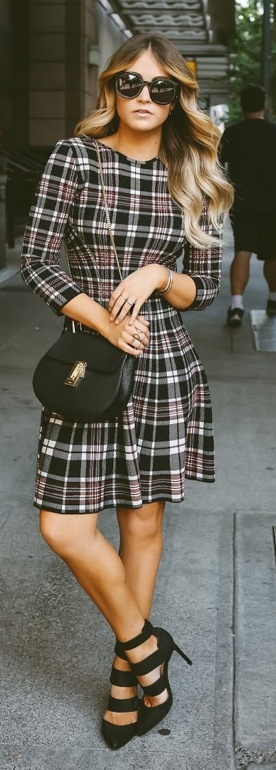 Plaid Classic And Chic Little Dress by Cara Loren