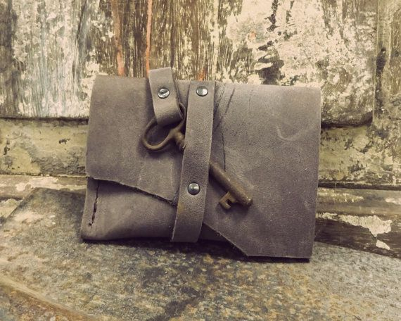 Beautiful handmade wallet with antique key, by Anne Meiborg