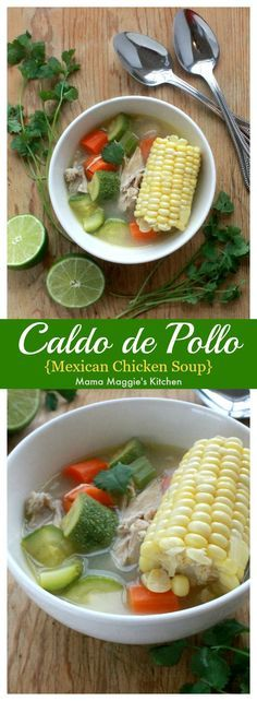 Caldo de Pollo, or Mexican Chicken Soup is the perfect comfort dish during cold weather. It takes on the flavors south of the border without overwhelming your palate. By Mama Maggie's Kitchen