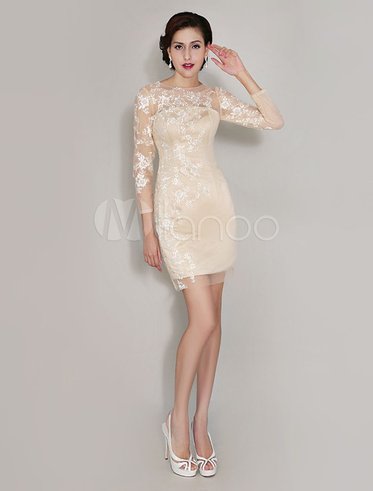 Champagne Sheath Crewneck Lace Charming Dress For Mother Of  Bride