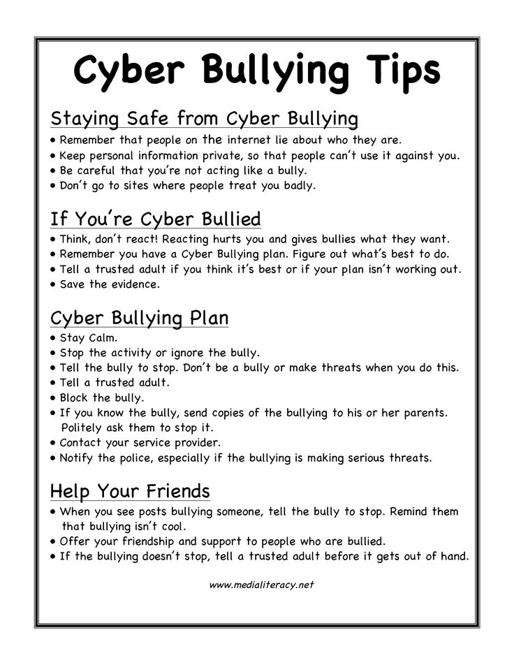 tips for how to prevent and stop cyber bullying