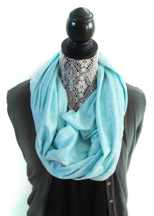 Jersey Knit Fabric Infinity Scarf - White Cross Stitch Arrow Pattern on Teal - Cotton Jersey Fabric - Knit Infinity Scarf for Women