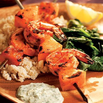 Cilantro, nutmeg, lemon zest, chiles, paprika, ginger, garlic, cumin, and fenugreek make up the South Asian-inspired marinade for grilled shrimp-and-cantaloupe kebabs. A yogurt sauce spiked with plenty of herbs and spices is delightful for dipping. Recipe: South Indian Shrimp Kebabs with Cilantro Sauce   - Delish.com