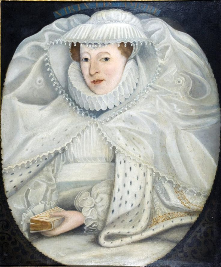 Portrait of Mary I, Queen of Scots (1542-1587), half-length, in a white dress, ruff and lace cap, with an ermine cloak, a bible in her left hand, in a feigned oval. After Nicolas Hilliard.