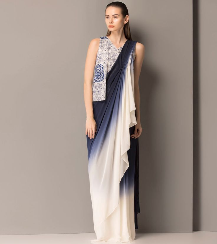 #am:pm Ombre Navy Blue Flat Chiffon #Drape #Saree at #Indianroots Was $ 576 | Is $ 288