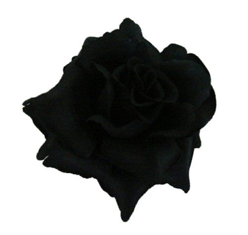 Silk Rose Flower Hair Clip Bridal Wedding 3.75 Inches. (Black) Bonitagirl  http: