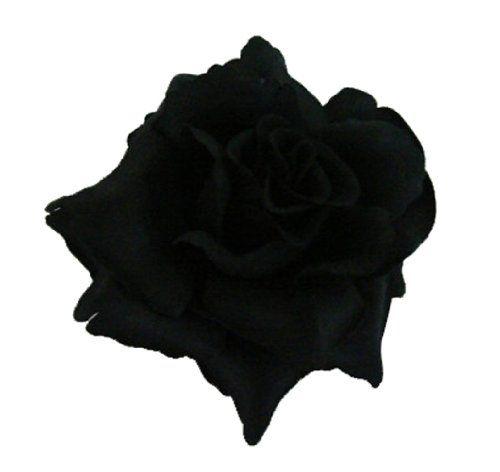 Silk Rose Flower Hair Clip Bridal Wedding 3.75 Inches. (Black) Bonitagirl  http: