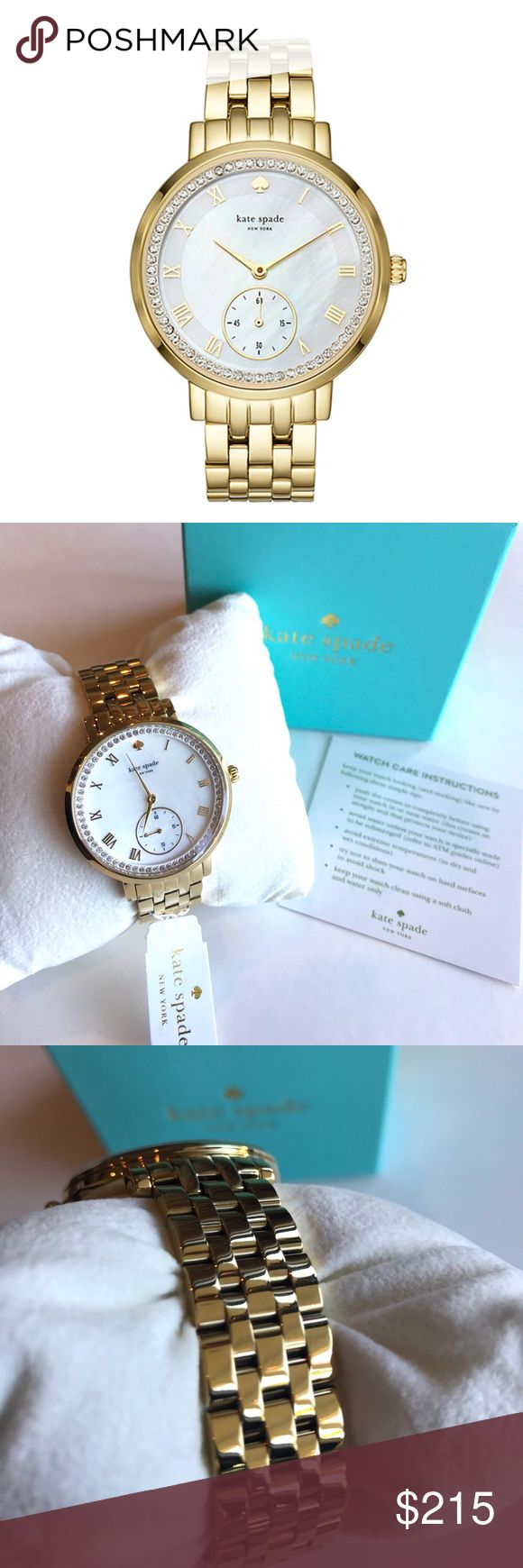 """KATE SPADE Monterey Pavé Gold Watch Guaranteed Authentic! Brand New in Box! Kate Spade Monterey pavé gold watch. Stainless steel case and five-link bracelet. Deployment clasp closure. Two-hand analog display with quartz movement. White mother-of-pearl dial includes hour markers, and one sub-dial. Pavé crystal dial ring. Splash-resistant to 3 ATM/30 meters. Measurements: Case H: 38 mm; Case W: 38 mm; Case D: 9 mm; Band W: 9 mm; Band Circumference/Length: 8"""". Item will be videotaped prior to…"""