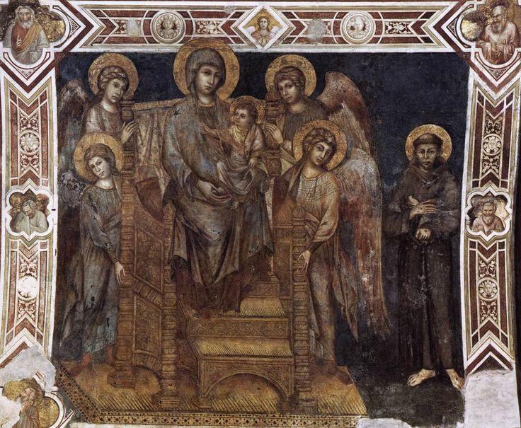 Мадонна на троне в окружении ангелов и св. Франциском. Чимабуэ. 1278 -80 гг. Нижняя церковь в Ассизи.