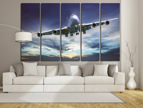Airplane Wall Art Canvas Set Aviation Art Etsy Airplane Wall Art Airplane Wall Canvas Set