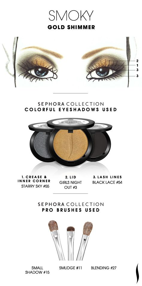 SMOKY: Gold Shimmer HOW TO. #sephoracollection #sephora #mua #eyeshadow