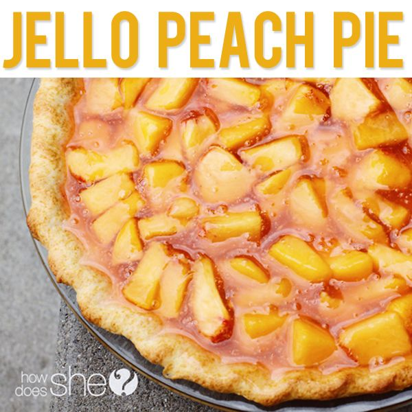 Amazing and easy Jello Peach Pie! Peach season is here...can't wait to make this delicious dessert recipe from howdoesshe.com.