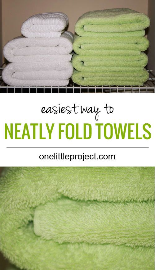 Here's a simple tip for how to fold kitchen towels and dish cloths to make it easy to keep these items organized and neatly stored, either in a drawer, cabinet, or even on your kitchen counter.