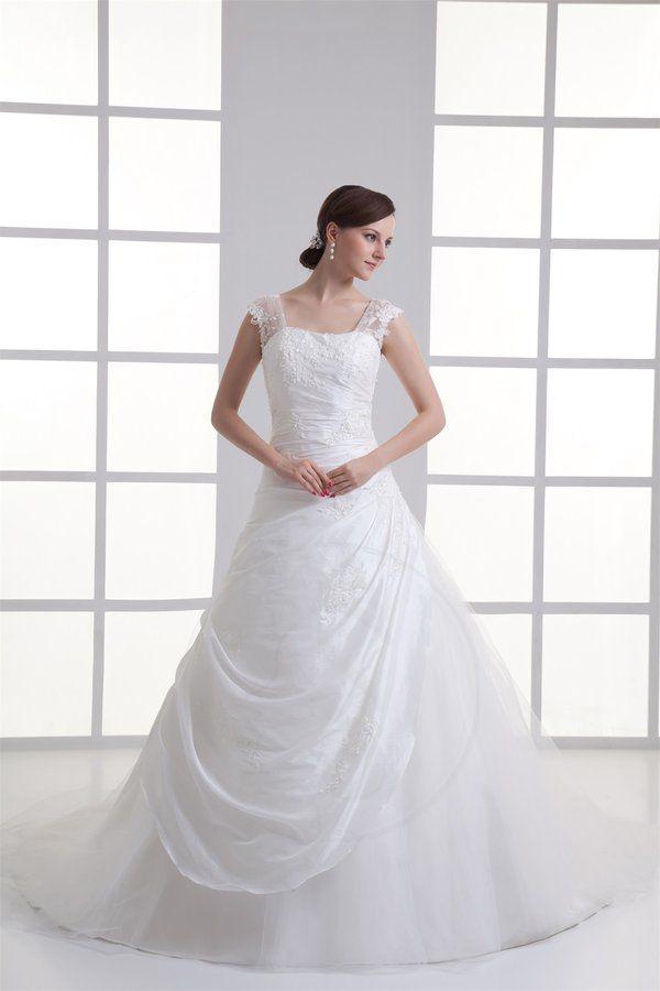 Robe de mariée boutons ligne a de traîne moyenne en taffetas taffetas