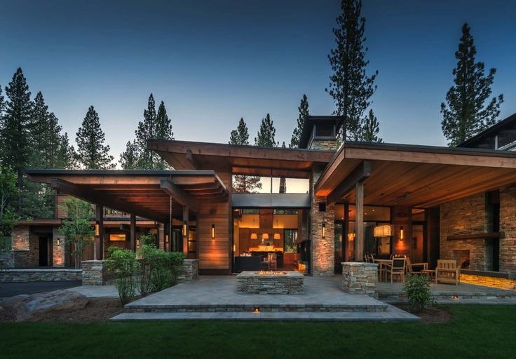 Modern mountain house in Martis Camp with indoor-outdoor life